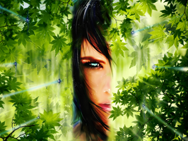Girl behind the leaves ver.2 by Pureadimelograno