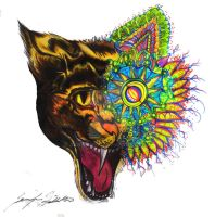 Louis Wain Tribute: Cat by AcrylicInk