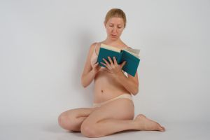 Body Reference - Sitting - Reading - Book in Front by Danika-Stock