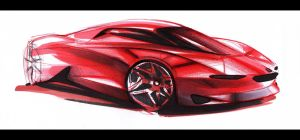 Ferrari - Sketch by Vincent-Montreuil