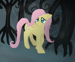 Fluttershy in the spooky woods by Ieafeon