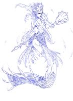 Nami, the Tidecaller, Red Lionfish Mermaid- WIP2 by Noctume