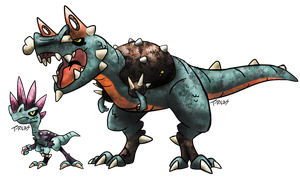 Punk Dinosaur Fakemon by T-Reqs