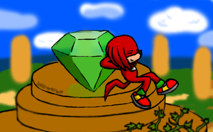 Knuckles and Master Emerald by AgentWerehog