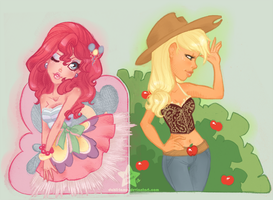Pinkie Pie and Applejack by dahli-lama