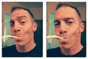 Toothbrush Selfie with new cell phone front cam by Rick-Kills-Pencils