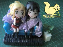 Kyoko and Ren of Anime Skip Beat. Polymer clay by yuisama