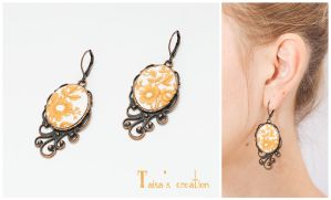 Earrings ''Cream Lace'' by Taisa-Winged