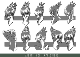 [Character Design] - Aidan ver.2 Face expression by Blackhole994