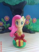 Fluttershy with present by AgnessAngel