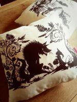 Red Riding hood cushion by PaperPandaCuts