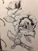 Roses and a cross:) by Damiannnnnnn