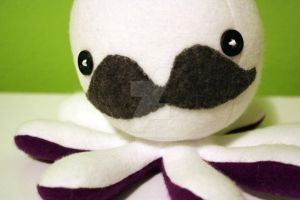 Mustache octoplushie in white by jaynedanger
