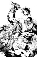 Thor vs Frost Giants by ReillyBrown