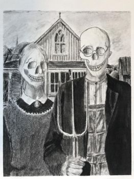 Grant Wood American Gothic class assignment by Scott-A-T-art