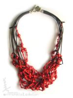 Red wood necklace by aheadOftime