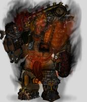 Fiery Mechanical Axeman Steampunk(?) Thing by IcedTea077