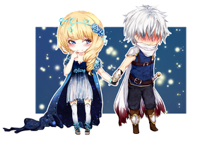 chibi commission :: Astraeid and Knight by ReroPumpkin