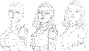 Sketch Elizabeth Bioshock Burial at Sea by SweeetRazzbery