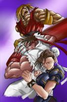 Ken Ryu And Chun Li by Qba by whodi