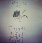 Drowning in my thoughts by Roseyart