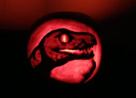Philosoraptor pumpkin by PixelMecha