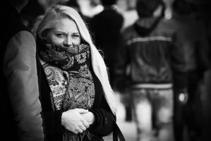Hiding in her scarf II by attomanen