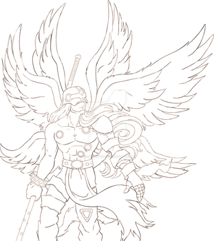 Angemon Line Art progress by ovidiocleto