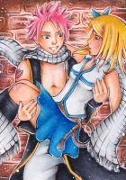 ACEO Natsu and Lucy by Anako-Kitsune