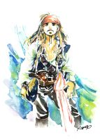 POTC4 captain in watercolor by amoykid