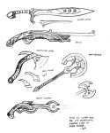 concept sketch - weapons by MallonIllustration
