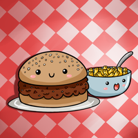 Cute Food- Sloppy Joe and Mac n' Cheese by PPGxRRB-FAN