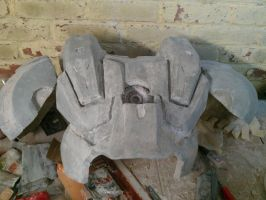 Warmachine WIP Pepakura Chest, filled and sanded by KnoxyMcKnox