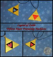 Zelda - Friendship Triforce Heart Necklace Set by YellerCrakka