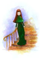 Girl Walking Down A Staircase by matildarose