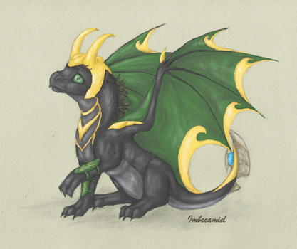 'Oops.' - aka Baby Loki Dragon by Imbecamiel