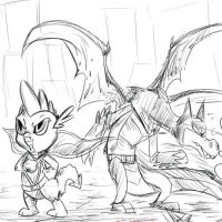 Super Dragon duo-Sketch request by Isa-Isa-Chan