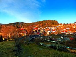 Village skyline in twilight by patrickjobst