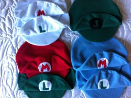 Mario Bros. Cap Collection by twilight-ann