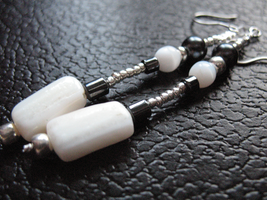 White and Black Earrings by sampdesigns