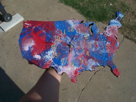 America The Beautiful Hand Crafted Clock! FOR SALE by johnlewisbrooks