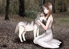 Girl and wolf by Amiranne