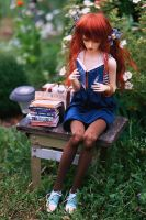 reading in the garden by AzureFantoccini