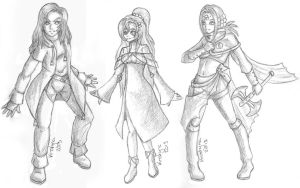 Thunder Mage, Priestess and Fighter by BlueCrystalDove