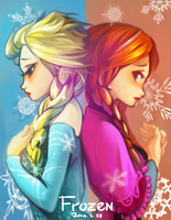 Elsa and Anna by boringmu