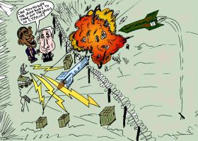 The Iron Dome Netanyahu and Obama caricature by optionsclickblogart