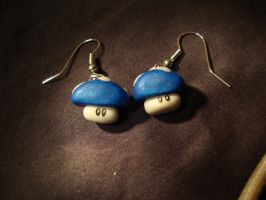 Blue Mario Mushroom Earrings by Menouthys