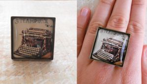 Steampunk ring with typewriter by SteamJo