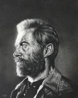 Hugh Jackman as Logan in Charcoal by JonARTon