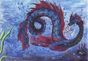 Sea dragon coloured by kxeron